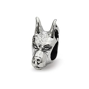 925 Sterling Silver Polished finish Reflections Doberman Pinscher Head Bead Charm Pendant Necklace Jewelry Gifts for Wom