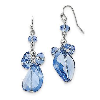 Tono plateado pastor gancho azul cristal redondo largo gota colgar pendientes mide 46x18mm regalos de joyería ancha para las mujeres
