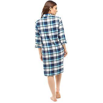 Foxbury Ladies Tradicional Escovado Algodão Check Nightdress