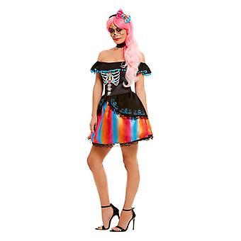 Womens Day of the Dead Halloween Fancy Kleid Kostüm