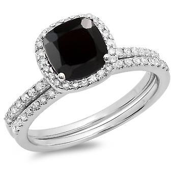 Colección Dazzlingrock 14K 7 MM Cojín zafiro negro y redondo blanco diamante halo anillo de boda set, oro blanco