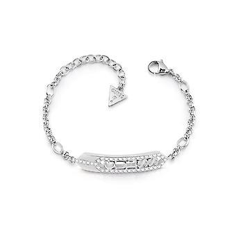 Guess Jewellery Hexagon Plaque Logo Silver Bracelet UBB29120-L