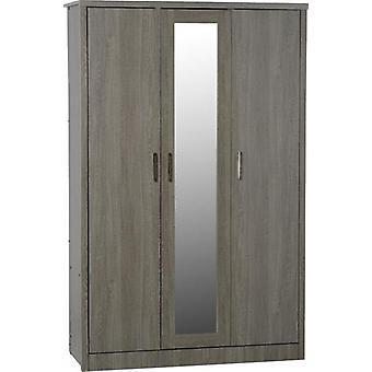 Lissabon 3 deur garderobe zwarte houtnerf