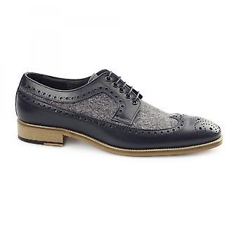 Carvelos Catania Mens Leather Tweed Brogues Navy/grey