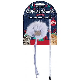 Rosewood Cat Xmas Luxury Garland Goose Teaser Toy