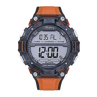 Tekday 655964 Watch - Silicone Black Box Bracelet Silicone Orange Men