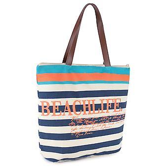 Ladies sommer Stripe Print Beach Life Beach-Pool-svømme-Tote-Shopping stor pose