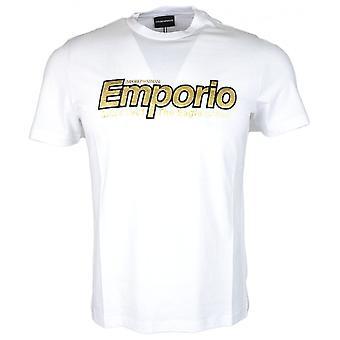 Emporio Armani Cotton Round Neck Embroidered Logo White T-shirt