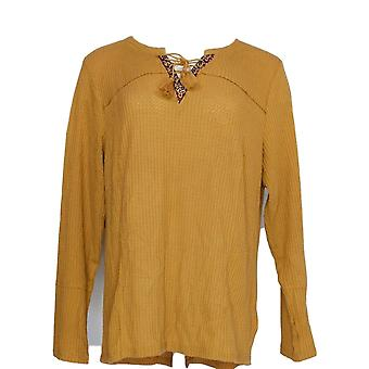 Style et Cie. Femmes plus Top Lace Up Long Sleeve Thermal Brown
