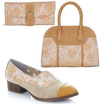 Ruby Shoo Brooke Sand Low Heel Loafers & Matching Cancun Bag