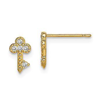 14k Madi K Key CZ Cubic Zirconia Simulerade Diamond Post Örhängen Smycken Gåvor för kvinnor
