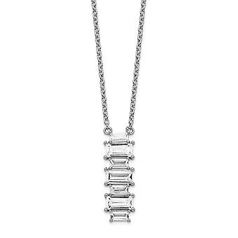 6.96mm Cheryl M 925 Sterling Silver Emerald cut CZ Cubic Zirconia Simulated Diamond Necklace 18 Inch Jewelry Gifts for W