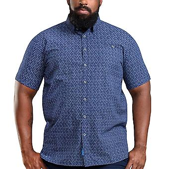 Duke D555 Homme Barlow Big Tall King Size Short Sleeve Button Up Shirt Top - Marine