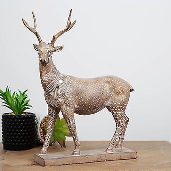 Hestia Embossed Deer Figurine 33.5cm