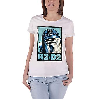 Official Womens Star Wars T Shirt R2D2 Robot Retro Poster New White Skinny Fit