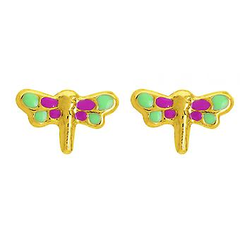 Ohrringe; bunte Schmetterling Ohrringe laqu s gold 750/1000 gelb (18K)