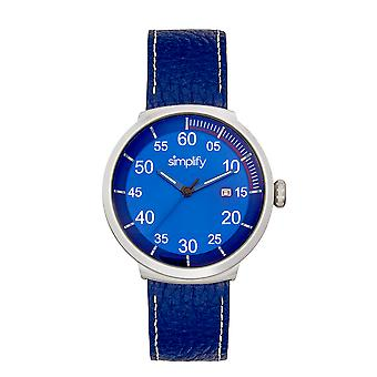 Simplify The 7100 Leather-Band Watch w/Date - Blue