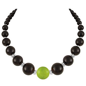 Eternal Collection Vanity Black And Lime Green Mountain Jade Statement Beaded Necklace