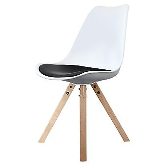 Fusion Living Eiffel Inspiré Blanc et Noir Dining Chair with Square Pyramid Light Wood Legs