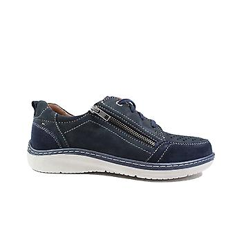 Ara Pedro 16220-12 Navy Nubuck Leather Mens Wide Fit Lace/Zip Up Shoes