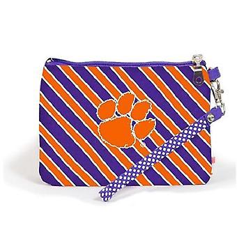 Clemson Tigers NCAA Striped Wristlet