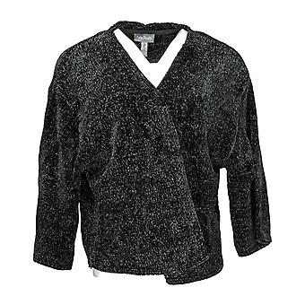 Anybody Women's Sweater Chenille Cropped Cardigan Black A345313