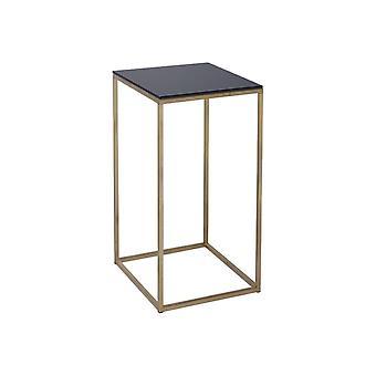 Gillmore zwart glas en goudmetalen eigentijdse vierkante lamptafel
