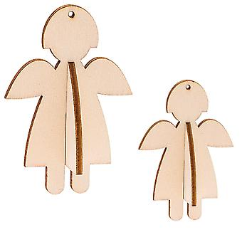 3 Natural Wooden Hanging 3D Angels - Use Plain or Decorate
