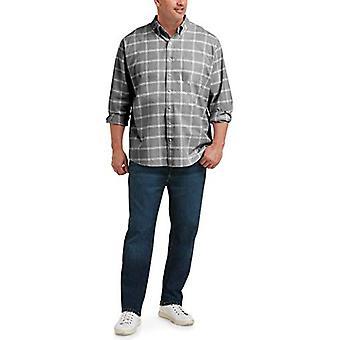 Essentials Hombres's camisa de bolsillo de panel de ventana de manga larga, gris, 2XLT