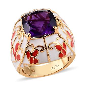 GP Dome Amethyst Ring Sterling Zilver 14ct Gold Plated Blue Sapphire