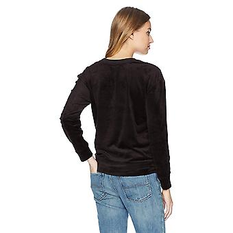 Daily Ritual Women's Velour Crewneck Sweatshirt, black, Medium