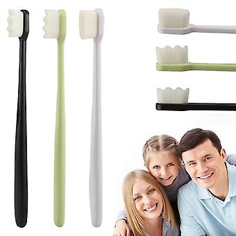 Portable Toothbrushes With Nano Ultra Fine Bristles Wave/flat Teeth Head -
