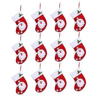 12Pcs Christmas Mini Santa Claus Stockings Red 10x15cm