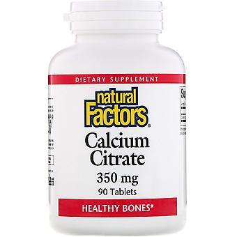 Natürliche Faktoren, Calciumcitrat, 350 mg, 90 Tabletten