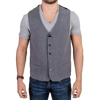 Gray cotton blend casual vest -- SIG1250181