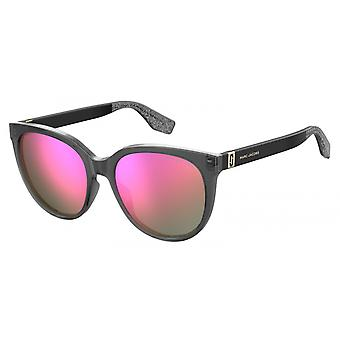 Sunglasses Women's Round Glitter Grey/Pink
