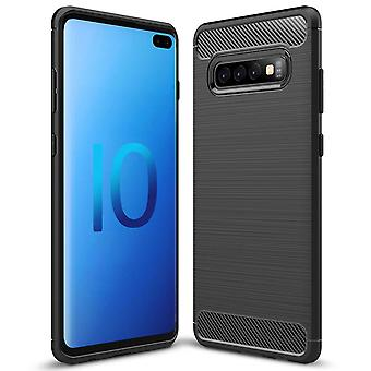 Carbon Fiber Shell for Samsung Galaxy S10 Plus Matte Mobile Shell Shockproof Silicone Protection