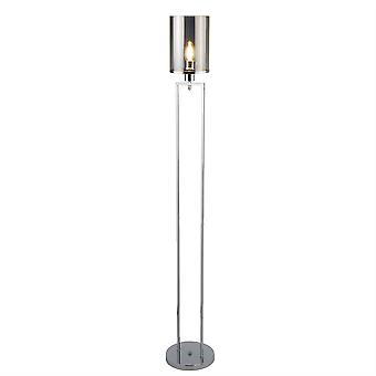 searchlight catalina - 1 lys gulvlampe krom, smokey med røkt glass skygge, E27