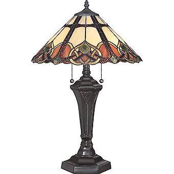 2 Lampe de table légère Vintage Bronze, Tiffany Glass, E27