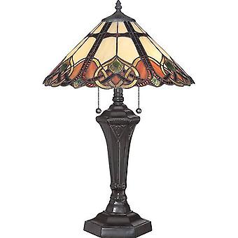 2 Lys bordlampe Vintage Bronze, Tiffany Glas, E27