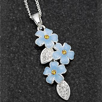 Cascading Forget Me Not Silver Plated Necklace - Gift Boxed