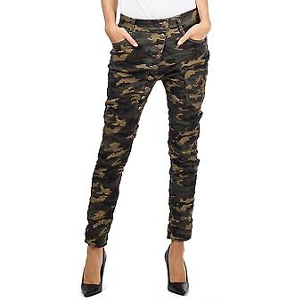 Camo Military Camouflage Slim Drop Button Crotch Jeans