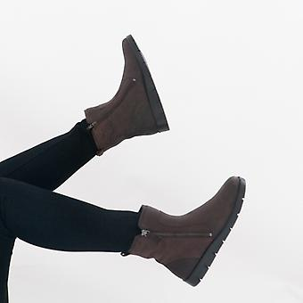 ECCO Bella Ladies Leather Ankle Boots Mocha