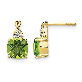 3.85 Carat (ctw) Natural Peridot Earrings in 10K Yellow Gold