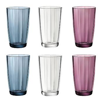 Bormioli Rocco Pulsar Clear & Coloured Faceted Cooler Glasses - 470ml - Set of 6