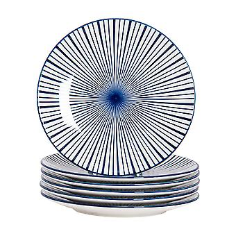 Nicola Spring 6 Piece Stripe Patterned Side Plate Set - Small Porcelain Dining Plates - Navy Blue - 19cm