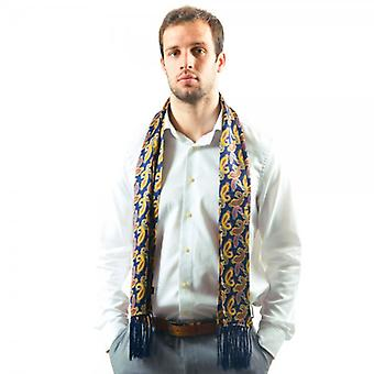 Ties Planet Tootal Navy Blue Paisley Fringed Silk Men's Evening Scarf
