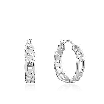 Ania Haie Chain Reaction Rhodium Figaro Chain Hoop Earrings E021-04H