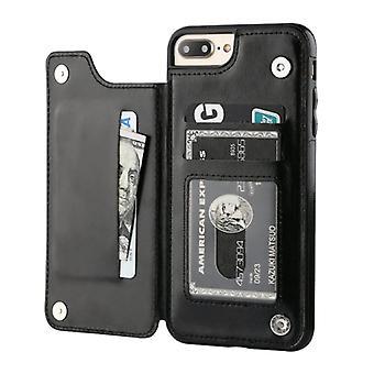 Stuff Certified® Retro iPhone 8 Leather Flip Case Wallet - Wallet Cover Cas Case Black