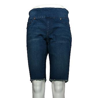 DG2 door Diane Gilman Women's Petite Shorts Blue Fringes Jean Cotton 724-452